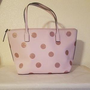 Kate Spade pink glitter polka dot purse